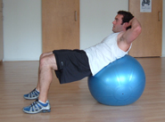 stability ball crunch finish position