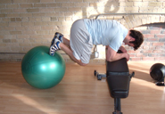 stability ball jacknife start position